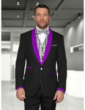 1 Button Black/Purple Modern Fit Shawl Lapel Two toned Lapel Evening Tuxedos