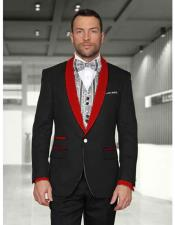 Black/Red Shawl Lapel 1 Button Modern Fit Two toned Lapel Evening Tuxedos