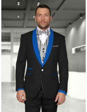 Blue Mens Shawl Lapel 1 Button Two toned Lapel Modern Fit Evening Tuxedos