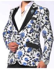 Fashion Unique Brand Mens Sport Coat-Valen Single Breasted Peak Black Lapel Double Vent Blue Fashion Blazer