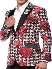 Unique Brand Mens Sport Coat-Hounds Flower Floral Pattern Single Breasted Peak