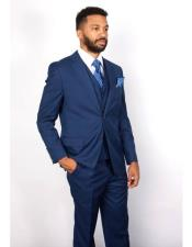 3 Piece Notch Lapel Single Breasted 100% Wool Indigo ~ Bright