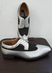Two Tone Tie Up Style Silver Exotic Print Classic Spectator Wingtip Lace upDress Shoes