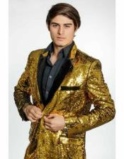 Alberto Nardoni Brand Mens Gold Sequins Velvet Lapel 2 Button Single Breasted Blazer