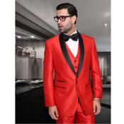 Shiny Flashy Sharkskin Red and Black Lapel Shawl Collar Vested Tuxedo Looking