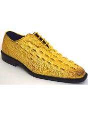 Mens Plain Toe Oxford Gator Pattern Yellow ~ Gold ~ Mustard