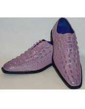 Gator Embossed Lace-Up Lilac