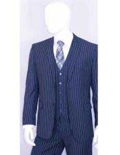 Mens Bold Chalk White Stripe 2 Buttons With Vest 3 Pieces Teal Indigo Cobalt Blue and Pinstripe