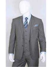Mens Bold Chalk White Stripe 2 Buttons With Vest 3 Pieces Medium Grey ~ Gray PinStripe