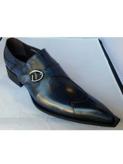 Brand Mens Leather Navy