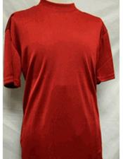 Stylish Mock Neck Shiny Red Short Sleeve Shirt