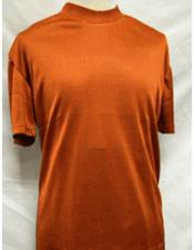Stylish Mock Neck Shiny Short Sleeve Rust Shirt