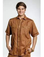 Mens Toffee Fringe Edge Linen Fashionable Short Sleeve Safari Style Casual Dress Shirt