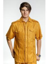 Mens Gold Fringe Edge Linen Fashionable Short Sleeve Safari Style Casual Dress Shirt