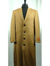 Wool Blend Camel 4 Button Single Breasted Bravo Top Overcoat