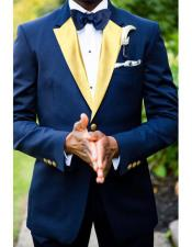 Velvet fabric Navy Blue Two Toned Tuxedos With Gold Lapel Color Jacket Velvet Blazer