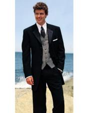 Black 100% Wool Tuxedo Four Buttons Style Notch Lapel with Pleated