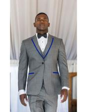 Mens Gray ~ Grey Tuxedo Suits Two Toned Royal