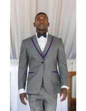 Mens Gray ~ Grey Tuxedo Suits Two Toned Purple