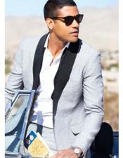 Linen Fabric tuxedos Suit Available in Black or Light Grey or Navy Blue or Light Khaki ~