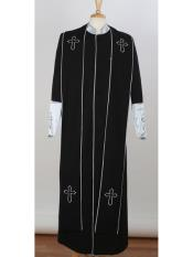 Big & Tall Church Cross Accent Robe With Stole Mandarin Suits Black/Silver