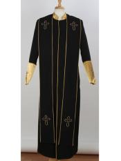 Big & Tall Mandarin Collar Black/Gold Church Cross Accent Robe With Stole Suits