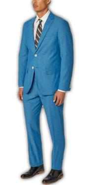 Nardoni Authentic Brand Mens Single Breasted Notch Lapel Bold Cotton Double Vent Two Piece Aqua Blue ~