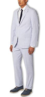 Mens Single Breasted Notch Lapel seersucker ~ sear sucker Cotton Double Vent Two Piece Blue Suit Available