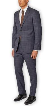 Alberto Nardoni Authentic Brand Mens Blue Plaid Single Breasted Notch Lapel Classic Wool Double Vent Two Piece