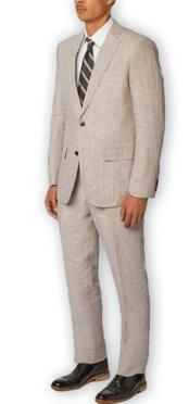 Nardoni Authentic Brand Mens Single Breasted Notch Lapel 100% Linen Double Vent Two Piece Gray Suit