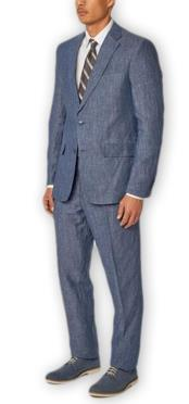 Alberto Nardoni Authentic Brand Mens Blue Single Breasted Notch Lapel 100% Linen Double Vent Two Piece Suit