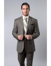 Mens Single Breasted Wool Platinum Stripe Olive Two Piece Suit with