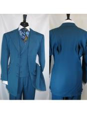2917v Mens Notch Lapel Turquoise 6 Paired Buttons Wide Matching Vested