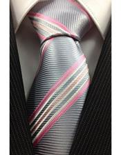 High Fashion Necktie Silver with Pink and White Classic Pinstripe Design Tie