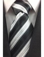 Necktie Black White and Silver Classic Pinstripe Design Fashion Tie