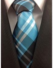 Mens Necktie Woven Polyester Blue Teal Classic Plaid Fashion Design Tie