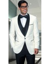 Confidence Mens Off White Modern Fit One Button Shawl (Black) Collar Three Piece Fashionable Tuxedo