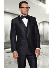 Confidence Shiny Indigo One Button Shawl (Black)Collar Three Piece Fashionable Tuxedo For Men