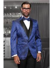 Tuxedo Vested Style Modern Fit Shiny Royal Blue One Button Three Piece New Fashion Tuxedo Suits Flat