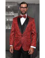 Tuxedo Vested Style Shiny Red One Button Single Breasted Three Piece