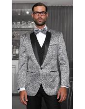 Tuxedo Vested Style Shiny Silver Swirl Pattern Three Piece New Fashion Casino Suits Flat Front Pants For