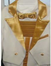 Two Toned White Tailcoat Tuxedo Gold Available in Mens