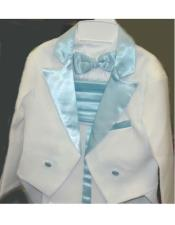 Toned White Tailcoat Tuxedo Light Blue Available in Mens & Boys