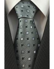 Necktie Silver Grey Woven with Geometric
