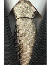 Pattern Necktie Woven Beige