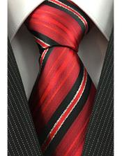 Necktie Red Black White with Tinsel Pinstripe Woven Fashion Tie