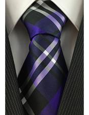 Mens Plaid Pattern Necktie Purple Black and White Woven Classic Tie