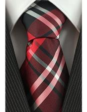 Necktie Red Black and White Woven Plaid Pattern Classic Tie