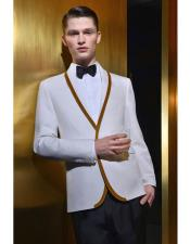 Mens White or Ivory Cream with Gold Trim Lapel Two Toned Option Shawl Collar Lapel dinner jacket