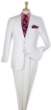 White Single Breasted 100% Linen Two Piece Regular Fit Suit Flat Front Pants